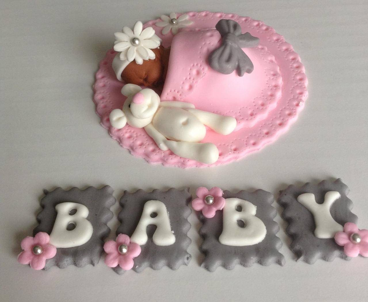Cake Toppers Baby Girl : BABY SHOWER CAKE TOPPER FONDANT EDIBLE PINK AND GREY BABY ...