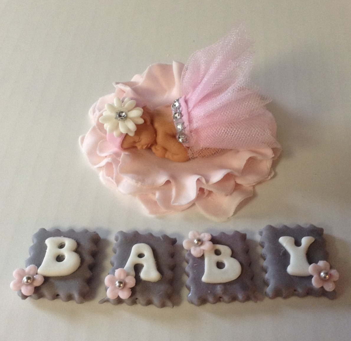baby #BABY SHOWER CAKE TOPPER #baby shower #cake #tutu #FONDANT BABY ...