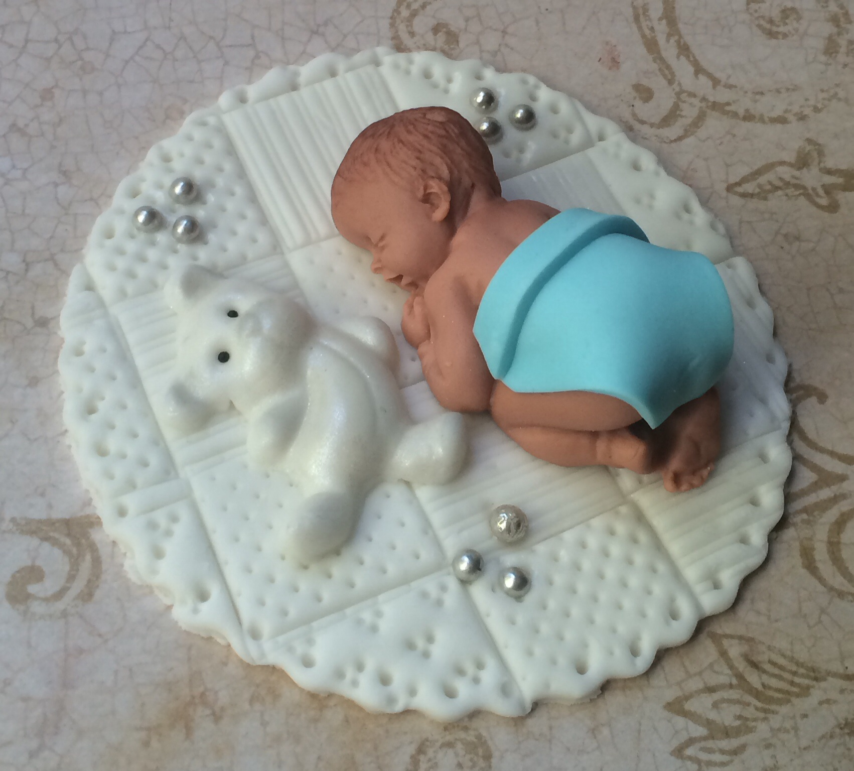 Baby boy shower fondant cake topper baby shower for Baby boy cake decoration