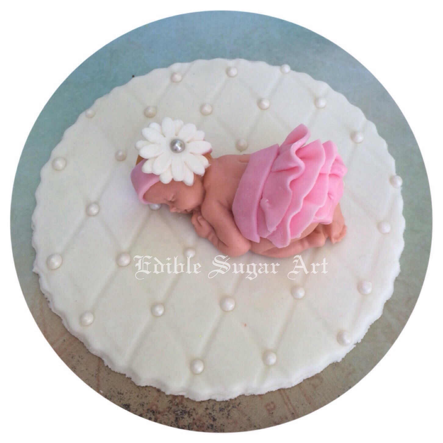 Cake Toppers Baby Shower Girl : BABY SHOWER CAKE TOPPER FONDANT EDIBLE PINK AND GREY BABY ...