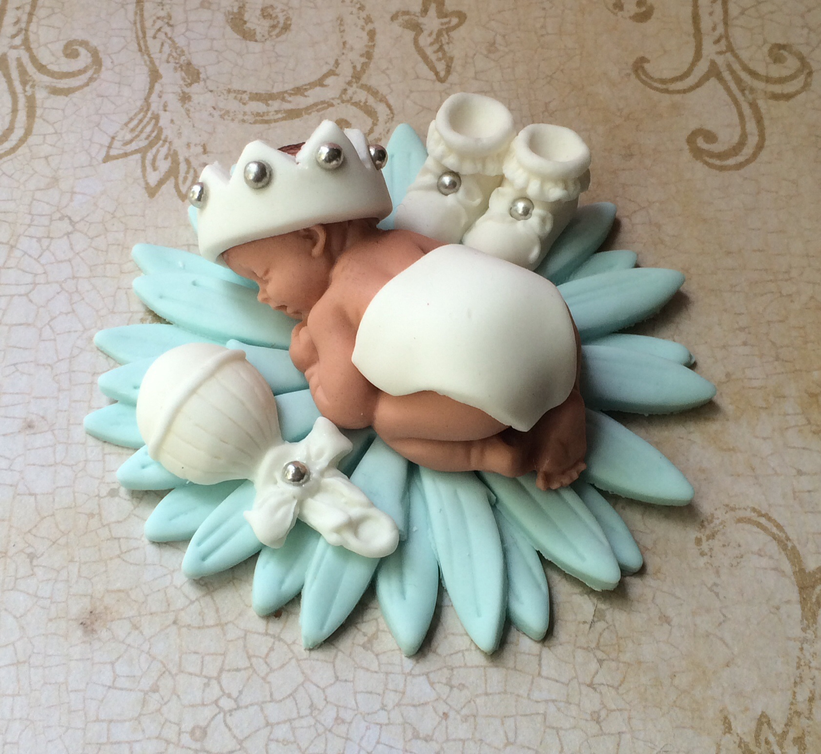 Baby boy baptism cake topper on luulla for Baby boy cake decoration